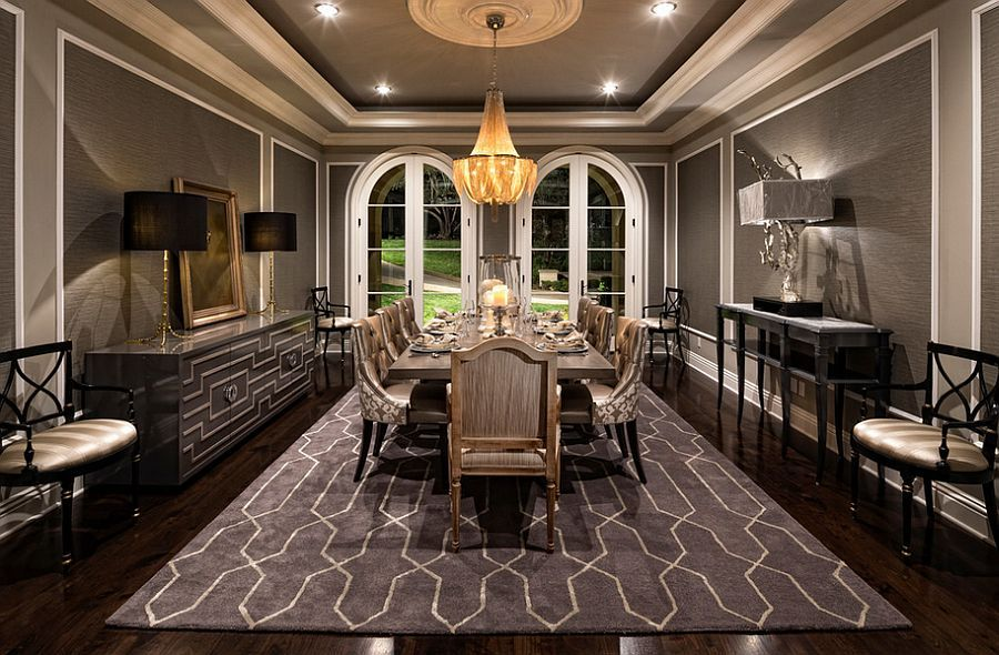 Stunning Mediterranean Style Dining Room In Gray   Decoist