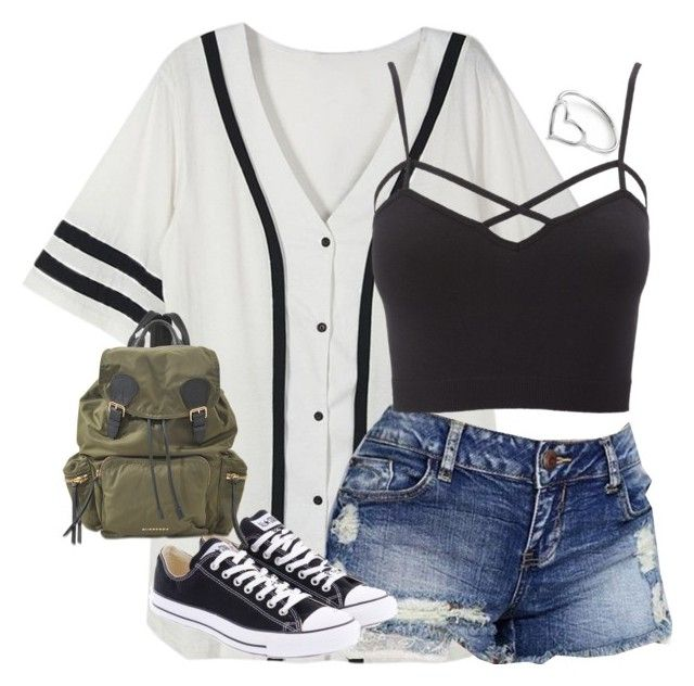 """""""*Insert title*"""" by barakitty88 ❤ liked on Polyvore featuring Charlotte Russe, Converse, Burberry, Jordan Askill, croptop, blackandwhite, jeanshorts, baseballtee, polyvoreeditorial and plus size clothing"""