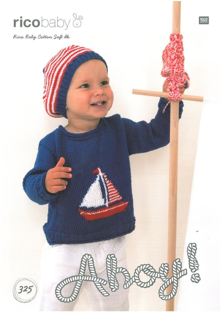 Babies Sweater with Sailing Boat Motif and Sailors Hat knitted in ...