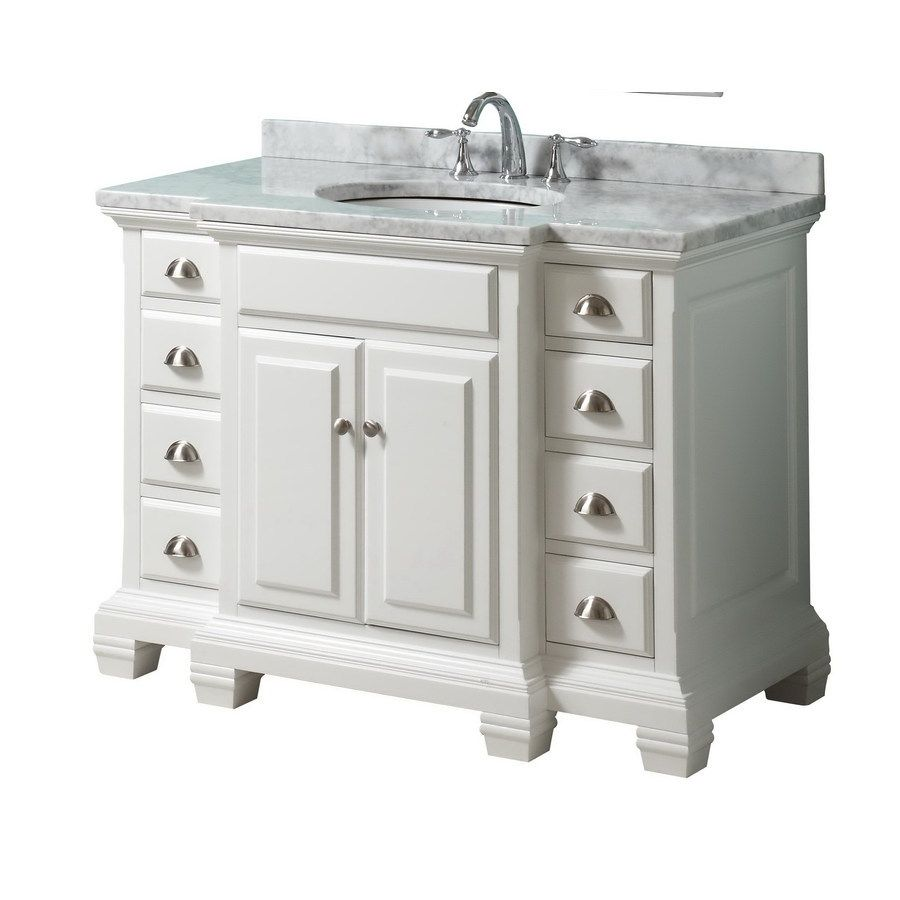 Shop style selections vanover 45 in x 23 1 4 in white - Lowes single sink bathroom vanity ...