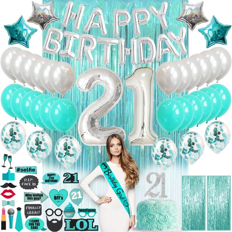 21 Birthday Decorations For Her Teal Green Turquoise Cake Etsy In 2021 21st Birthday Decorations 18th Birthday Decorations 21st Birthday Party Supplies