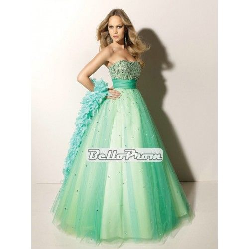Ball Gown Strapless Floor Length Tulle with Sequins Prom Dress PD33214 at belloprom.com