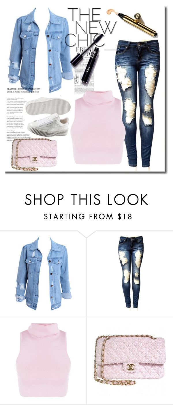 """""""Untitled #240"""" by tori-carter ❤ liked on Polyvore featuring Chanel, Puma, Pink, denim and puma"""