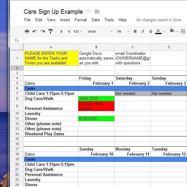 How To Use Google Docs for Online Sign-Up Sheets Whatever the - training sign in sheet example