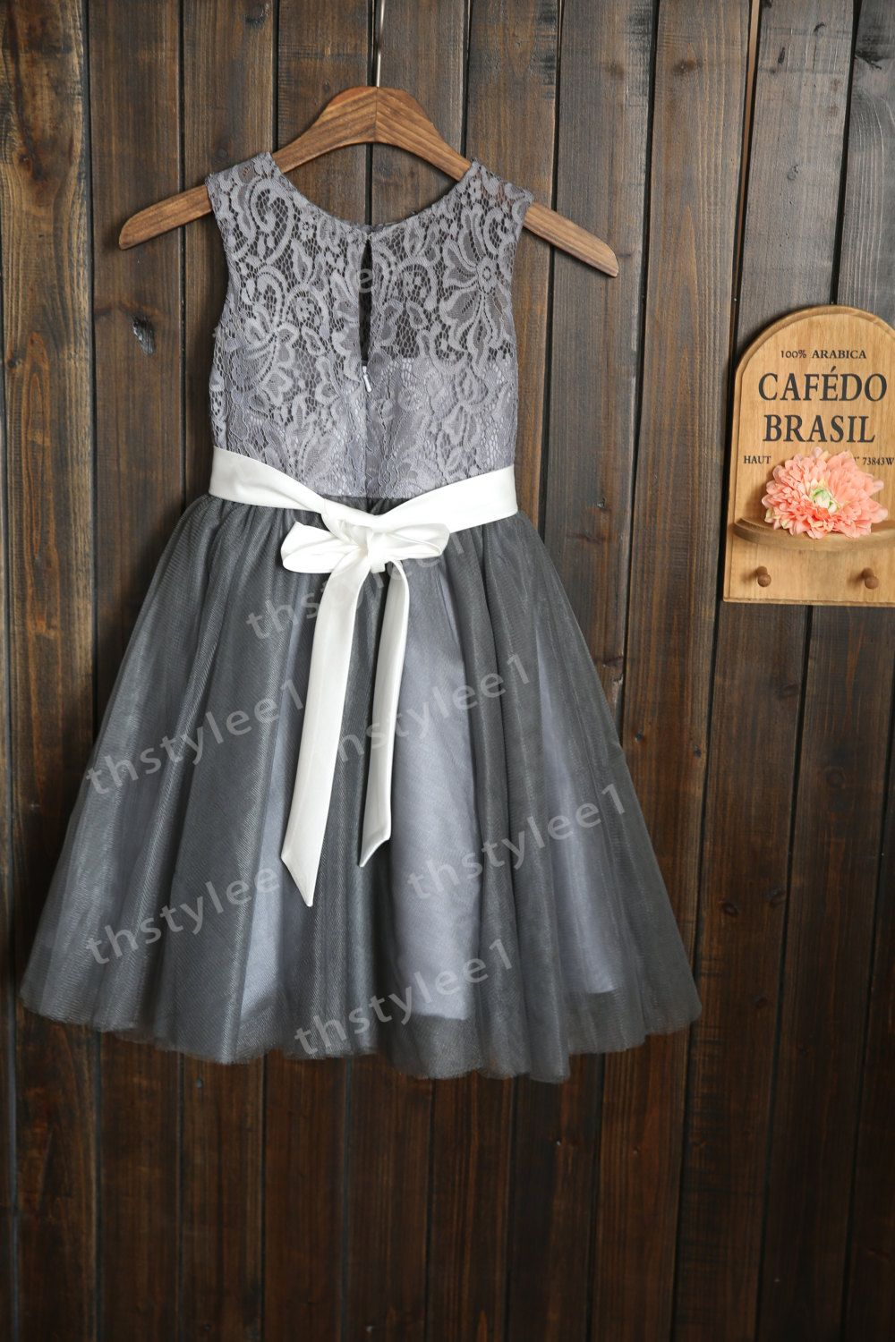 Grey Lace Tulle Flower Girl Dress with by thstylee1 on ...
