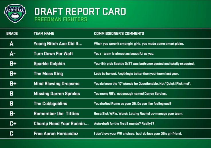 Draft Grades Football Draft Fantasy Football Team Names