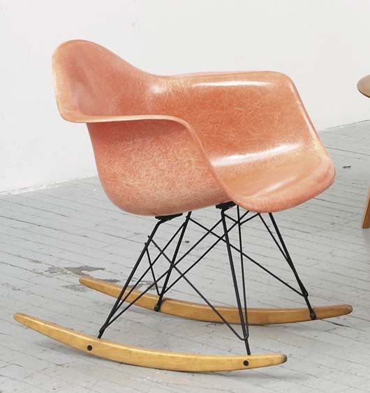 eames rocking chair upholstered replica original charles vintage perfectly faded hue pink nursery