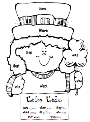 sight word coloring sheet for St. Patty's Day