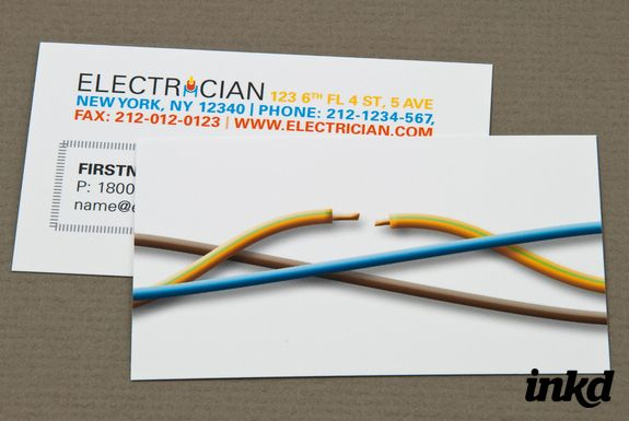 Electrician Business Card By Inkddesign On Deviantart Visiting Card Design Personal Business Cards Business Cards