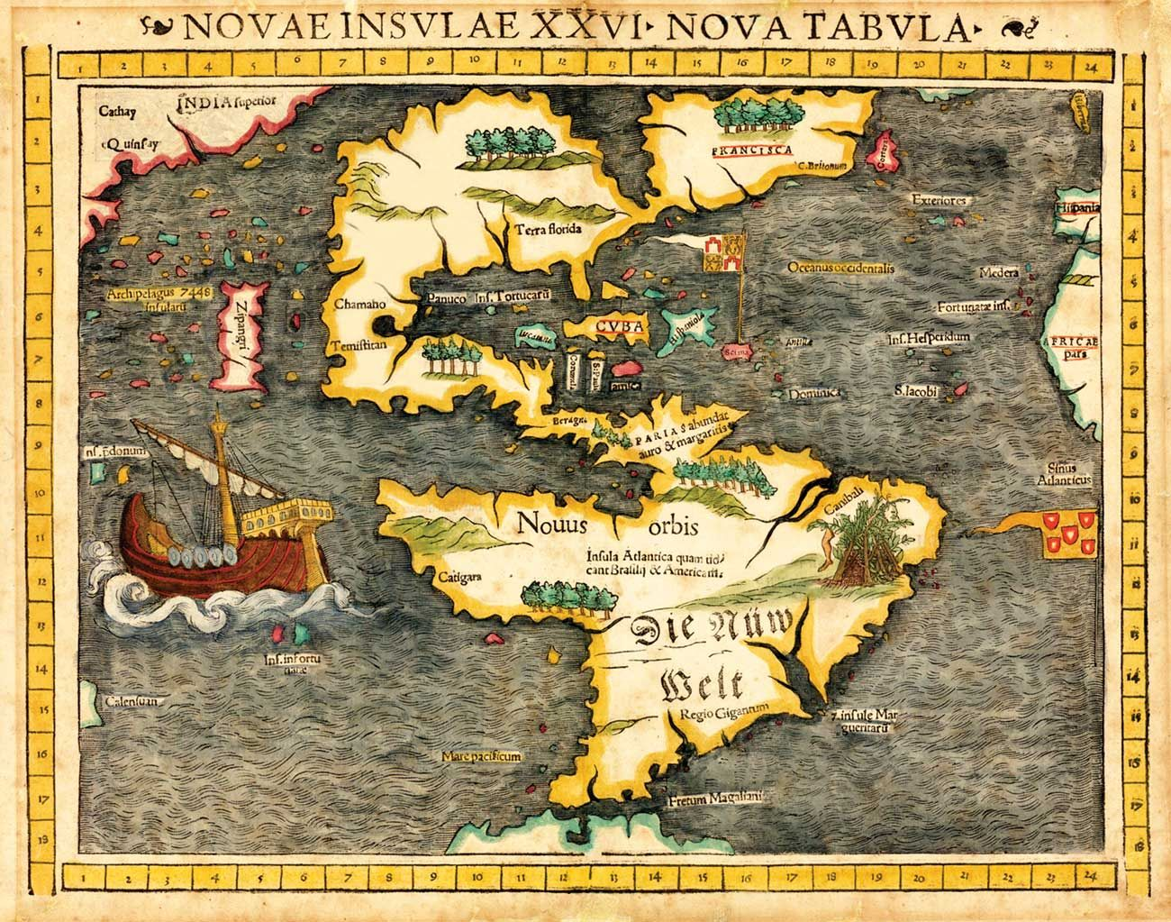Sebastian munsters map published in 1540 the first to show sebastian munsters map published in 1540 the first to show america as a continent gumiabroncs Images