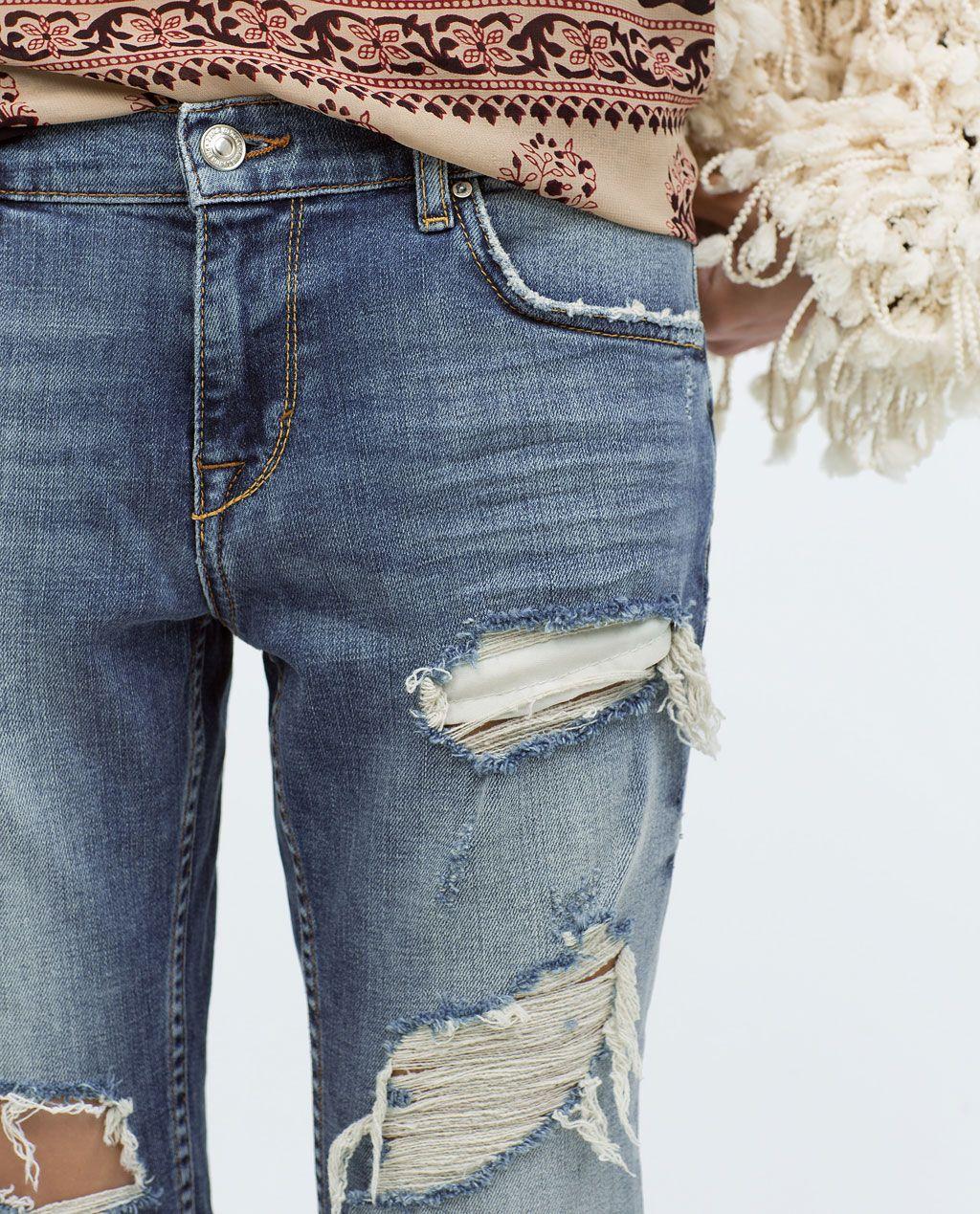 5a3591c8bb82 ZARA - WOMAN - VINTAGE WASH RIPPED CIGARETTE JEANS   Fashion Passion ...