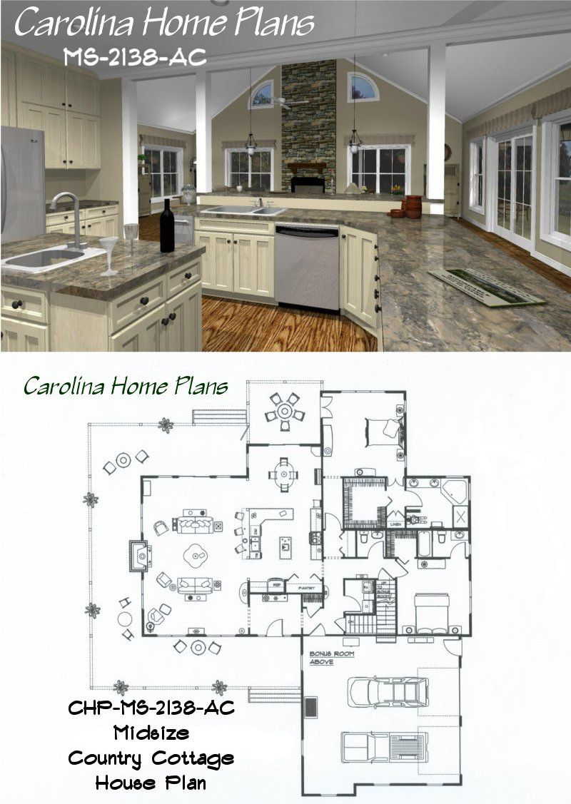 Midsize country cottage house plan with open floor plan for Two kitchen house plans