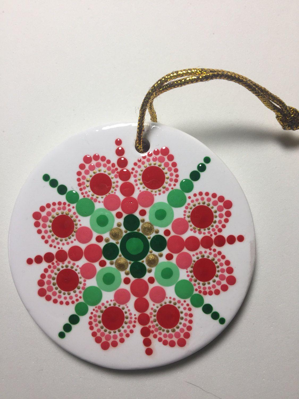 Hand Painted Ceramic Christmas Ornament, Mandala Art, Dot Art, #382 By  Mafastones