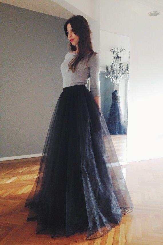 5af15cfa2 falda larga  tul  negra  outfit
