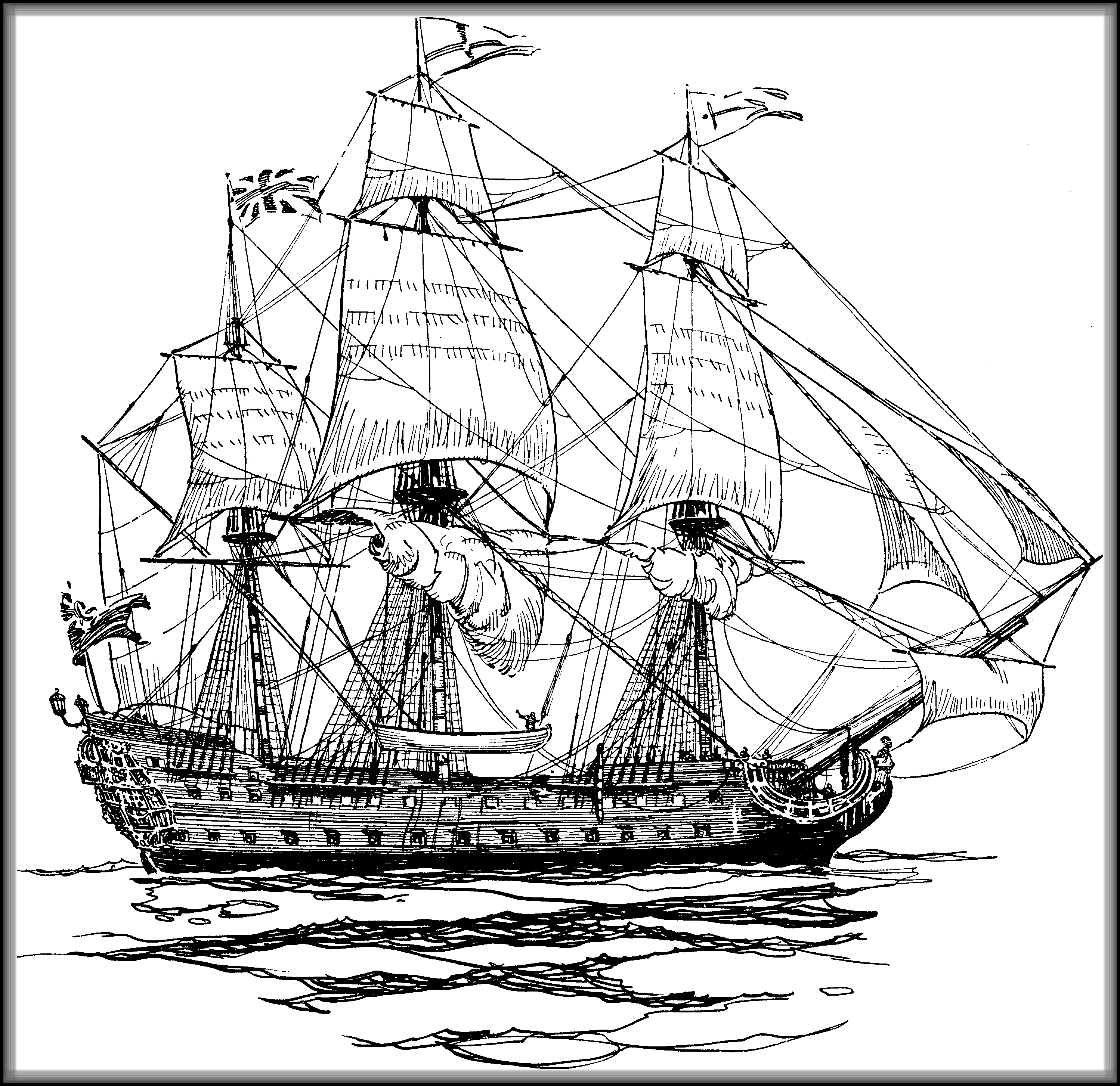 Line Drawing Ship : British ship of the line drawing tall ships on high