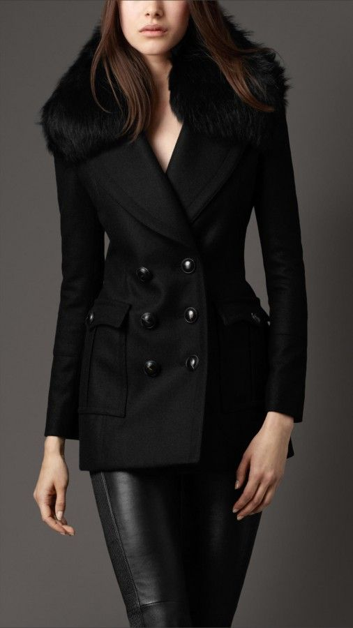 7a9760f2f9d339 Burberry London women fur collar pea coat... another coat i love ...
