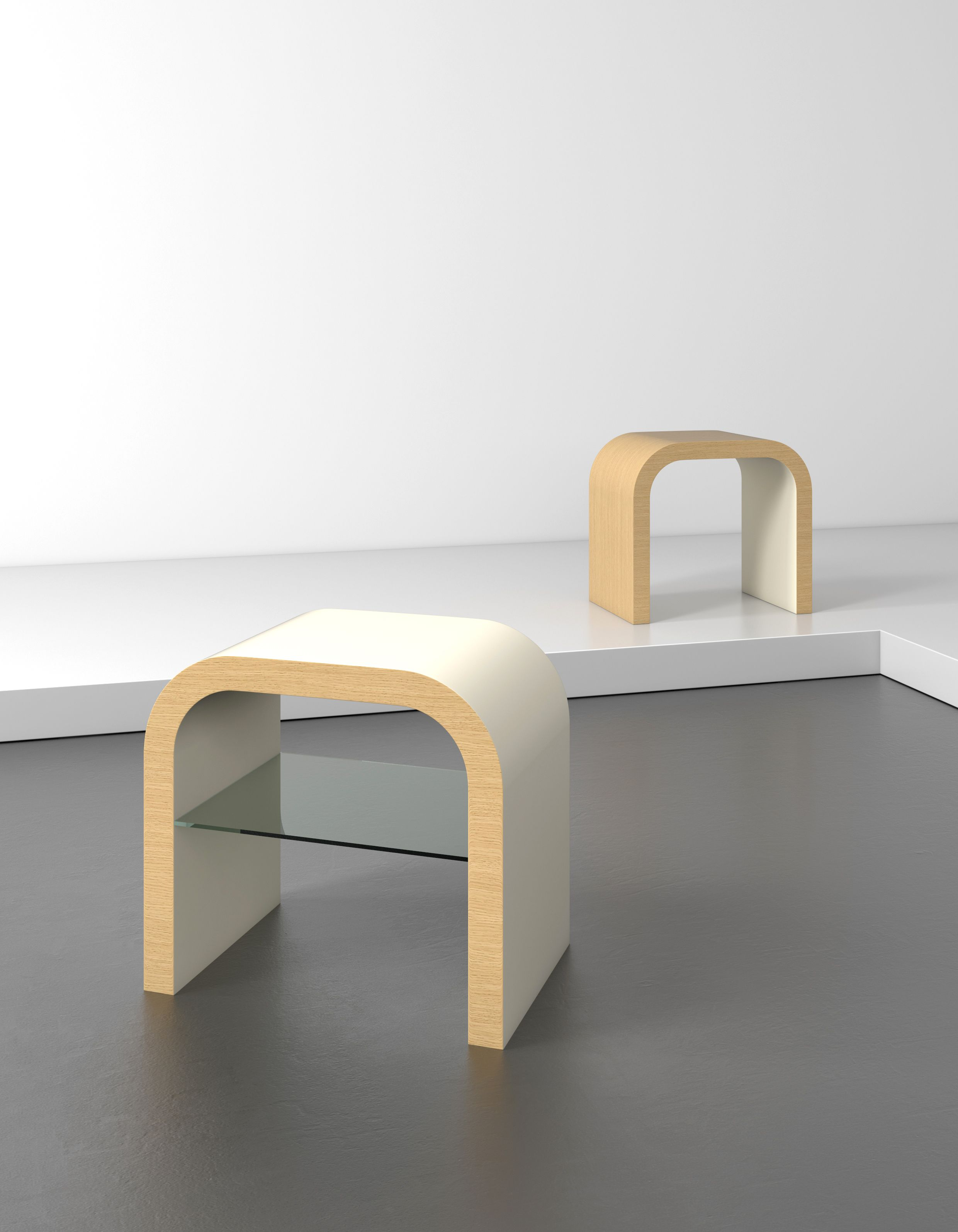 The U Shape Lamp in cream gloss and natural oak The name should