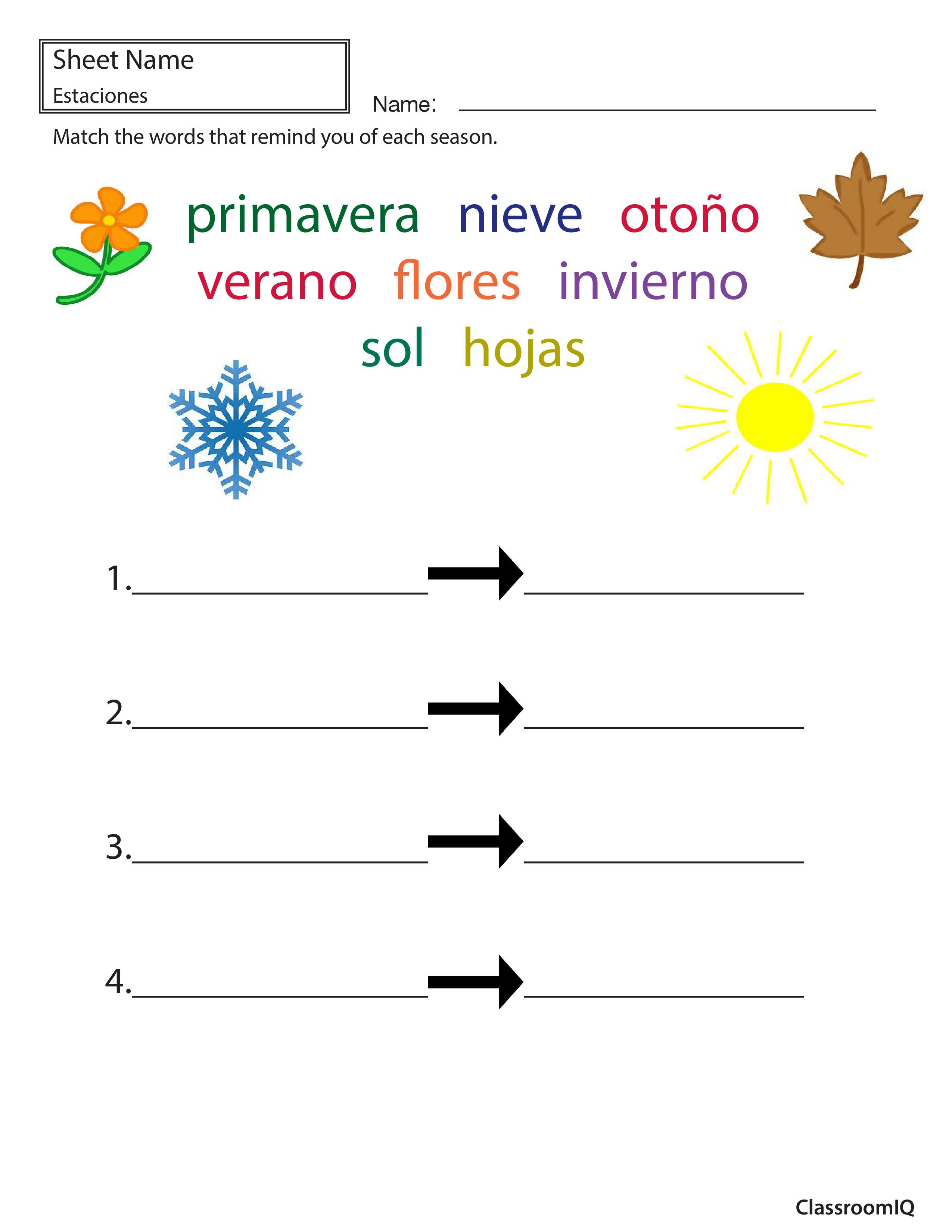 worksheet Weather Expressions In Spanish Worksheets seasonal words in spanish spanishworksheets classroomiq newteachers
