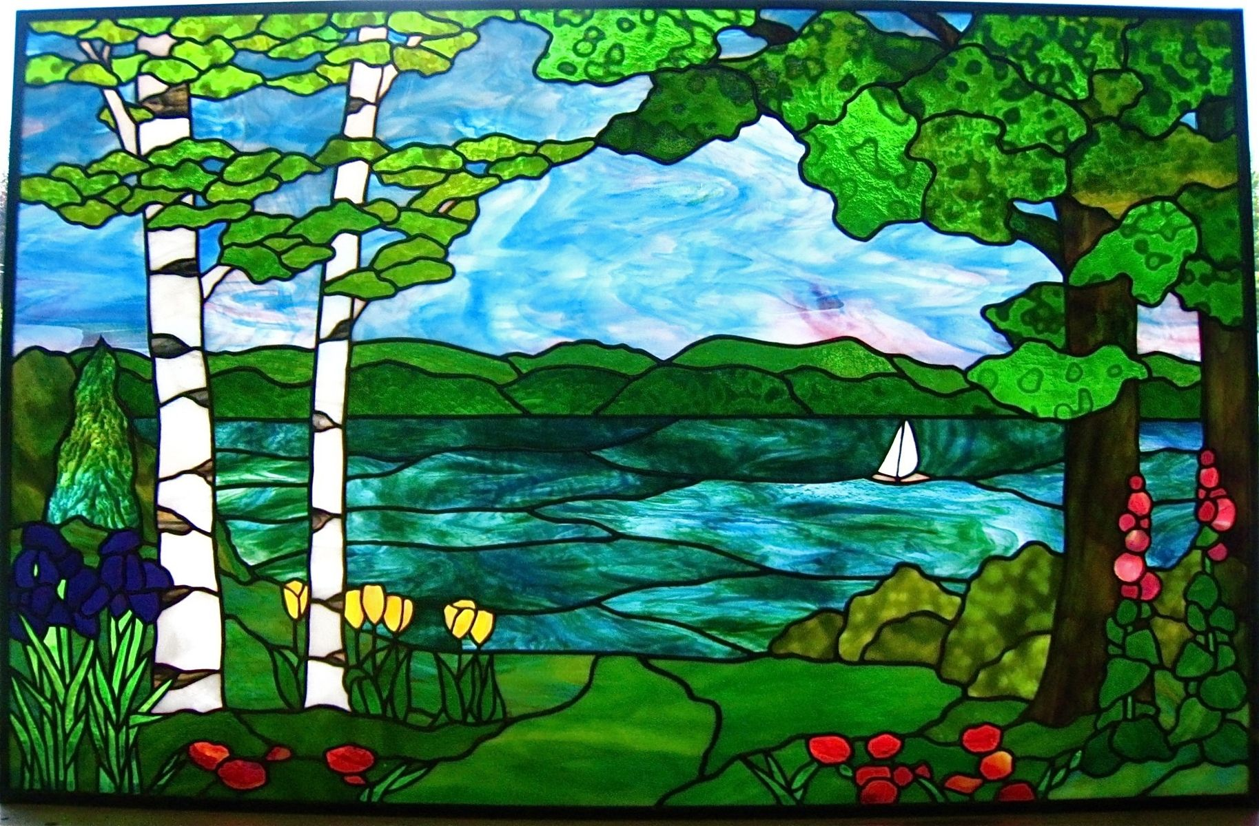 Stained Glass Landscape Geneva Landscape By Gilbertson S Stained Glass Studio Custommade Com Stained Glass Glass Painting Designs Stained Glass Studio