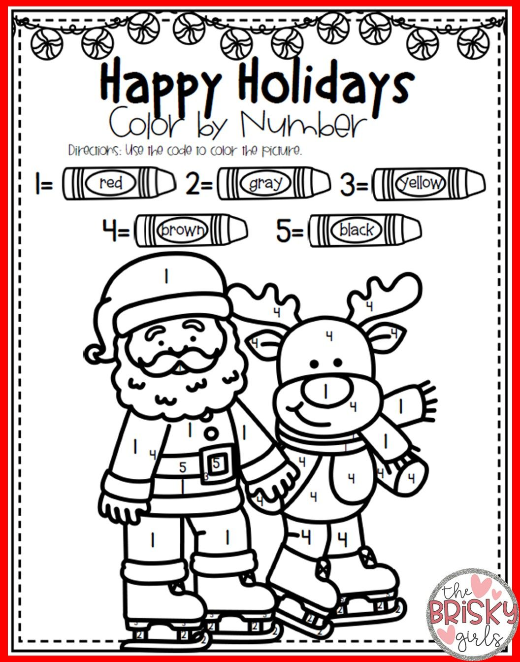 Christmas Coloring Pages (Color By Number) Preschool