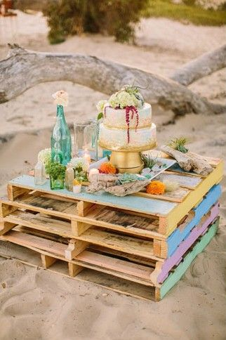 Stacked Pallets Picnic Table So