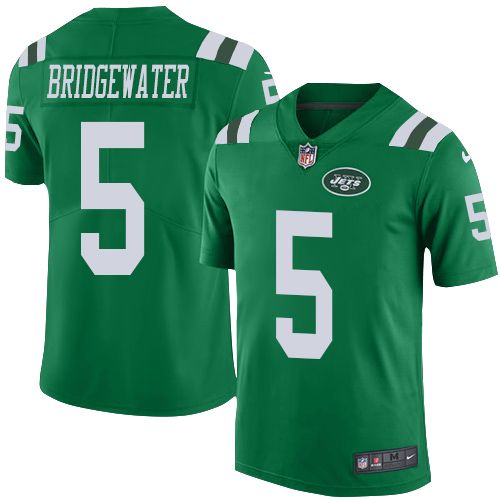 77ff1592faa Nike Jets  5 Teddy Bridgewater Green Youth Stitched NFL Limited Rush Jersey