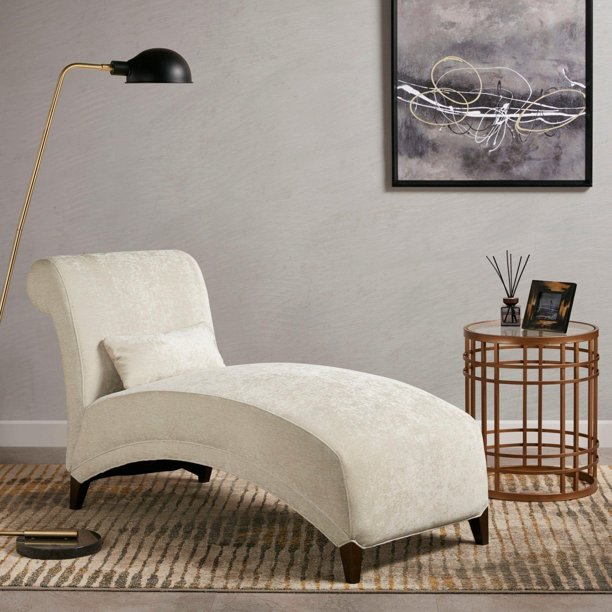 Martha Stewart Alexa Cream 33-inch Chaise, Ivory(Foam ... on Martha Stewart Living Chaise Lounge id=95345