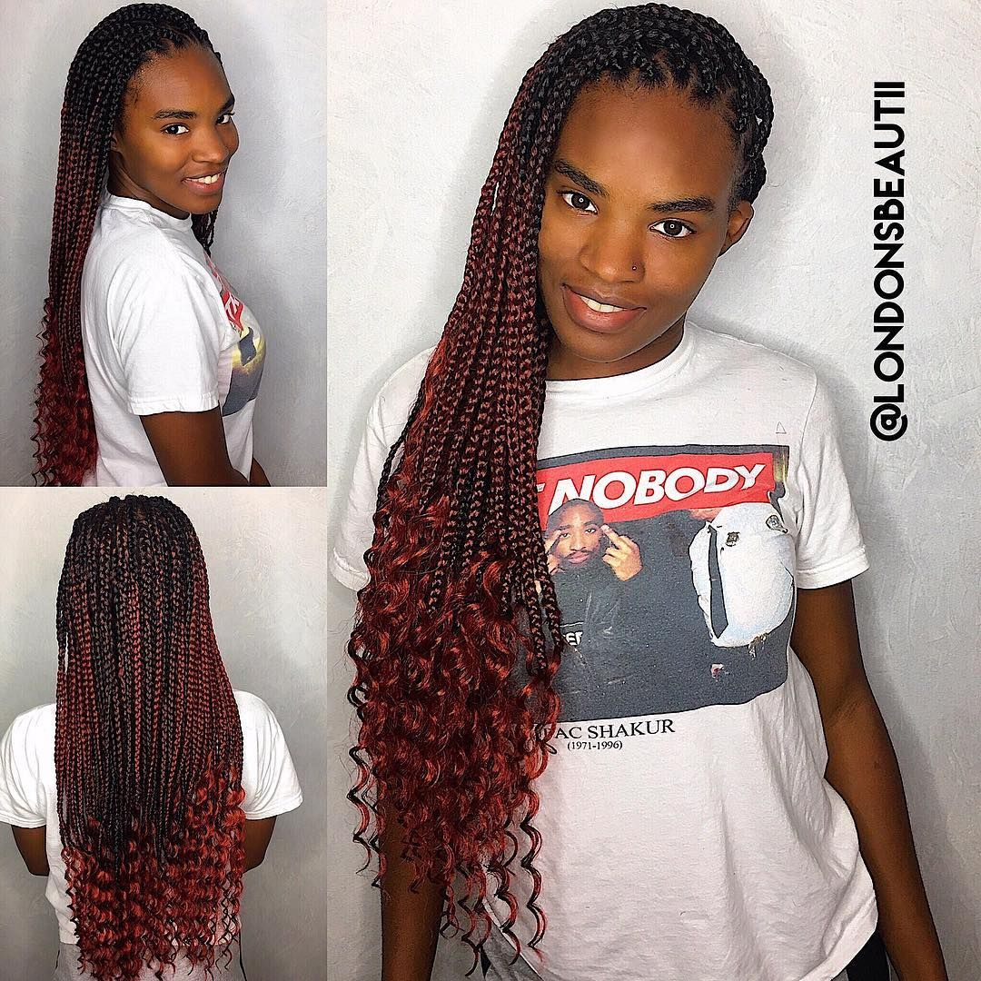 Goddess Single Plaits Or Goddess Box Braids Done By London S Beautii In Bowie Maryland Www Styleseat Com Single Braids Braids With Curls Braided Hairstyles