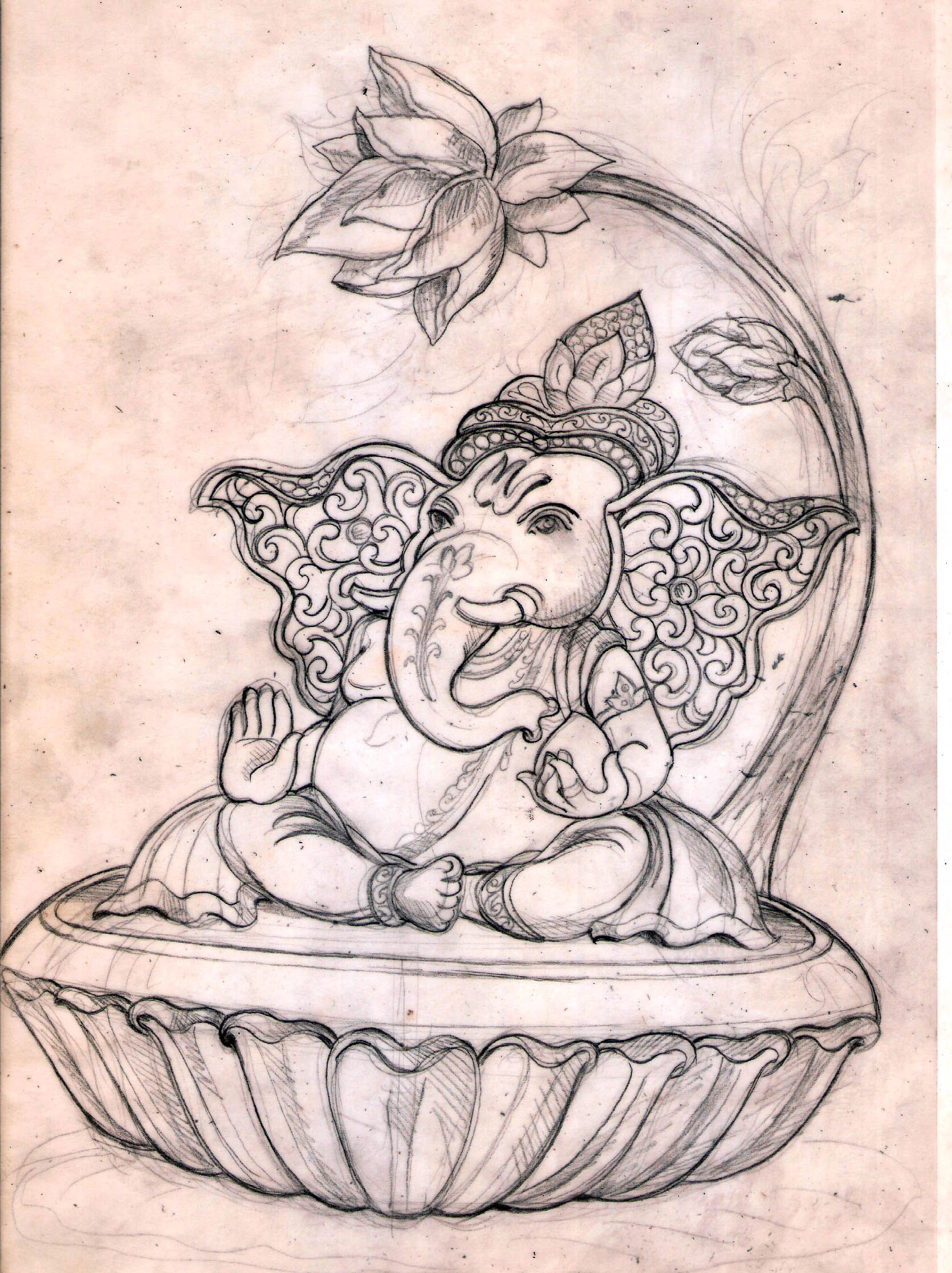 Lotus Ganesha Ganesha Drawing Ganesh Art Ganesha Art
