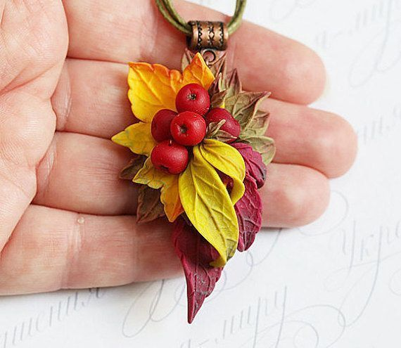viburnum polymer clay necklace. Yellow red bronze leaves red… -