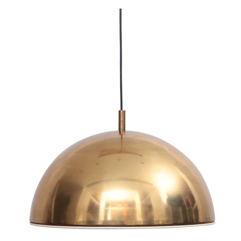 italian pendant lighting. Huge Brass Pendant Lamp From 1960s Italy With White Enamel Inner Shade | A Unique Italian Lighting