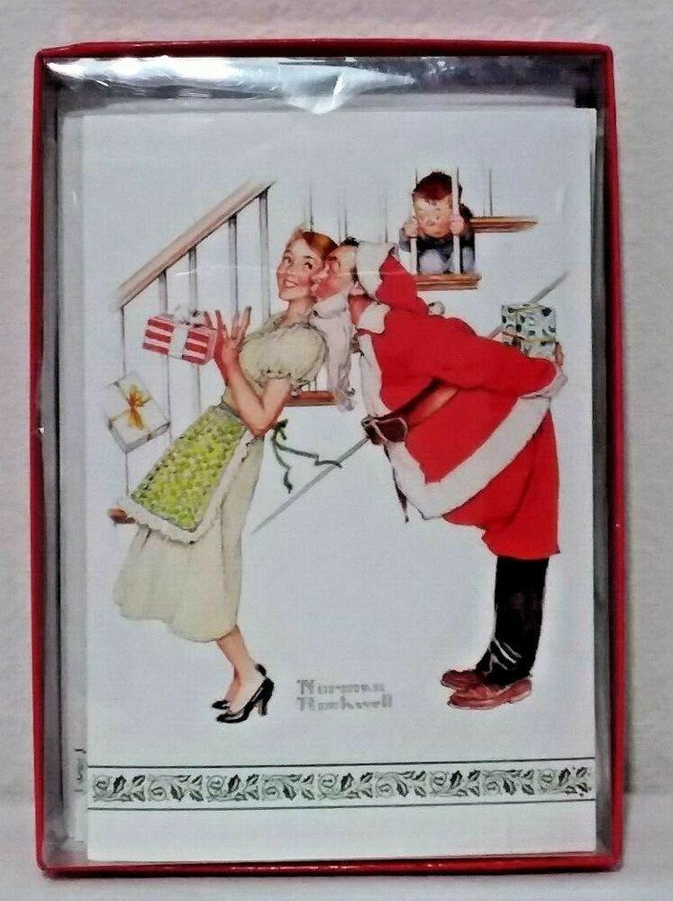 NORMAN ROCKWELL CHRISTMAS SANTA 15 Card Boxed Set Norman