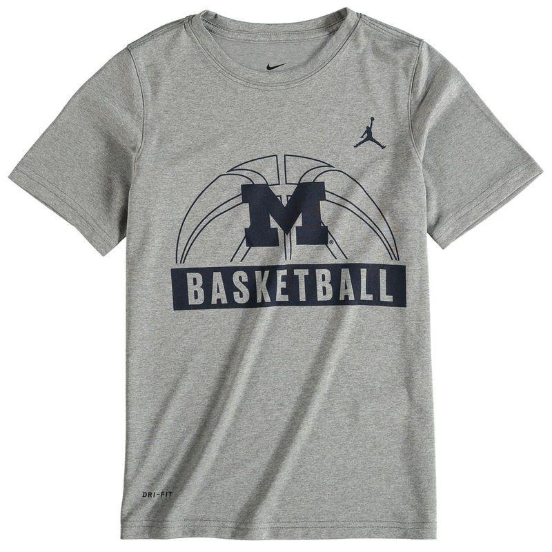7a622959d5f8c8 Michigan Wolverines Jordan Brand Youth Basketball and Logo Performance T- Shirt - Gray