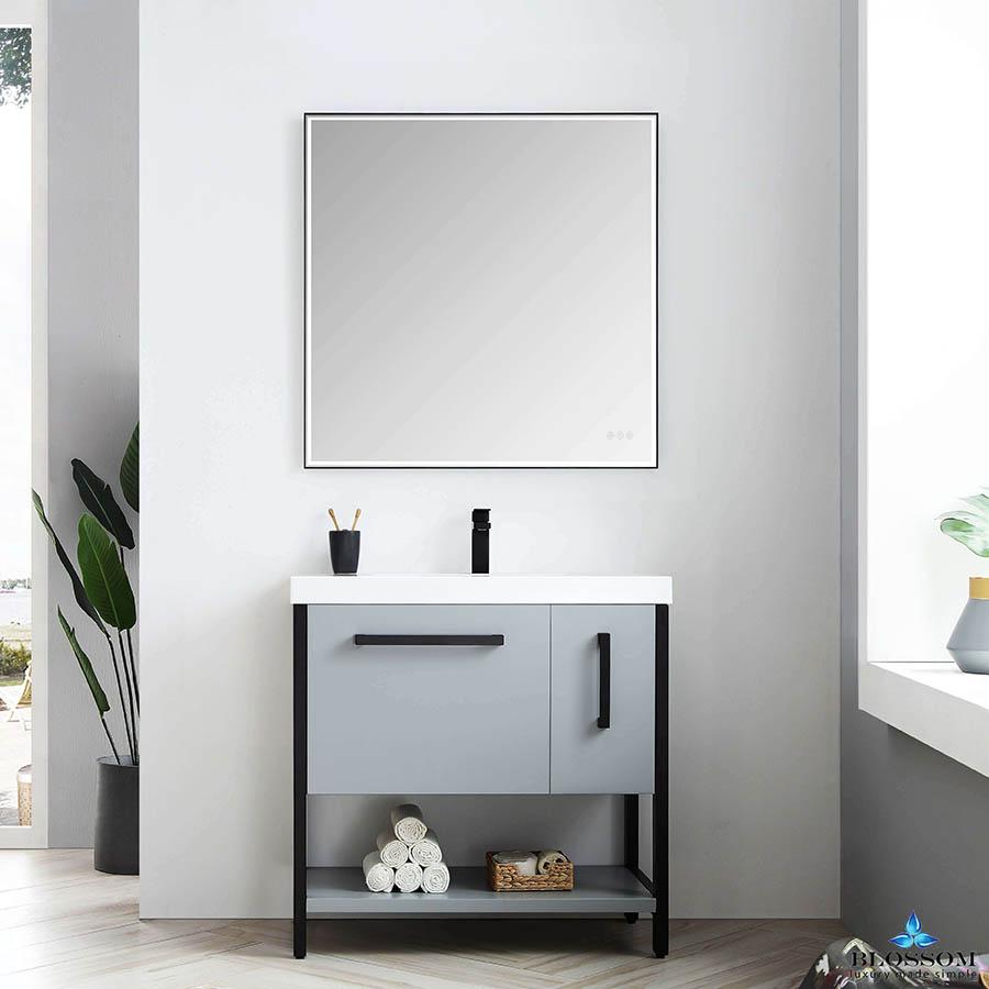 Blossom Vanity Model Riga 36 Bathroom Cabinet Color Metal Grey Single Bathroom Vanity Furniture Vanity Bathroom Cabinet Colors