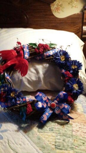 "Summer wreath with an ""Americana"" vibe.."