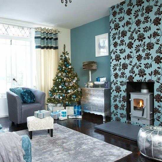 Love silver lowboy stenciled fireplace wall blue teal for Metallic living room ideas