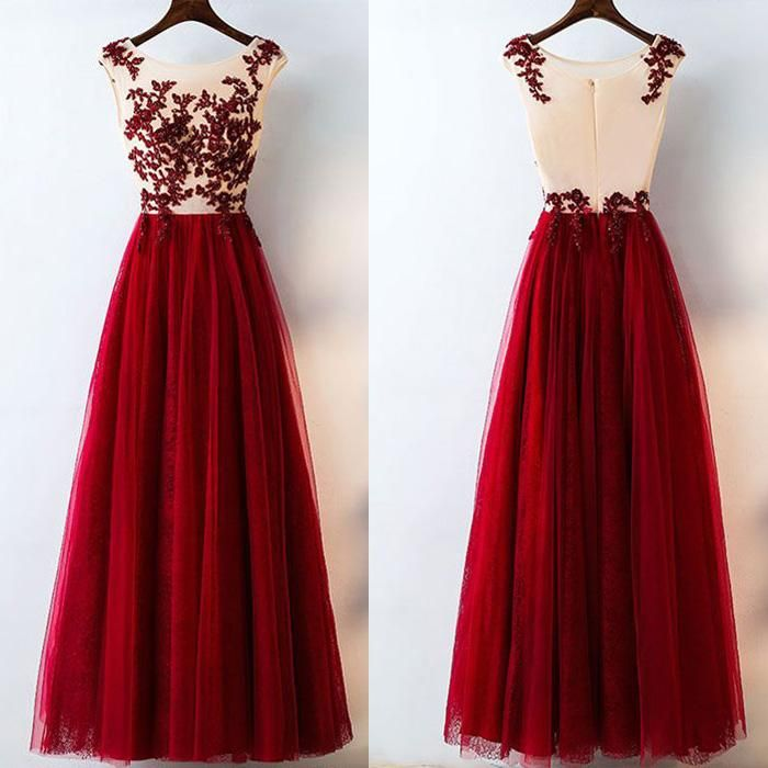 Formal Tulle Applique Inexpensive Elegant Long Evening Prom Dresses
