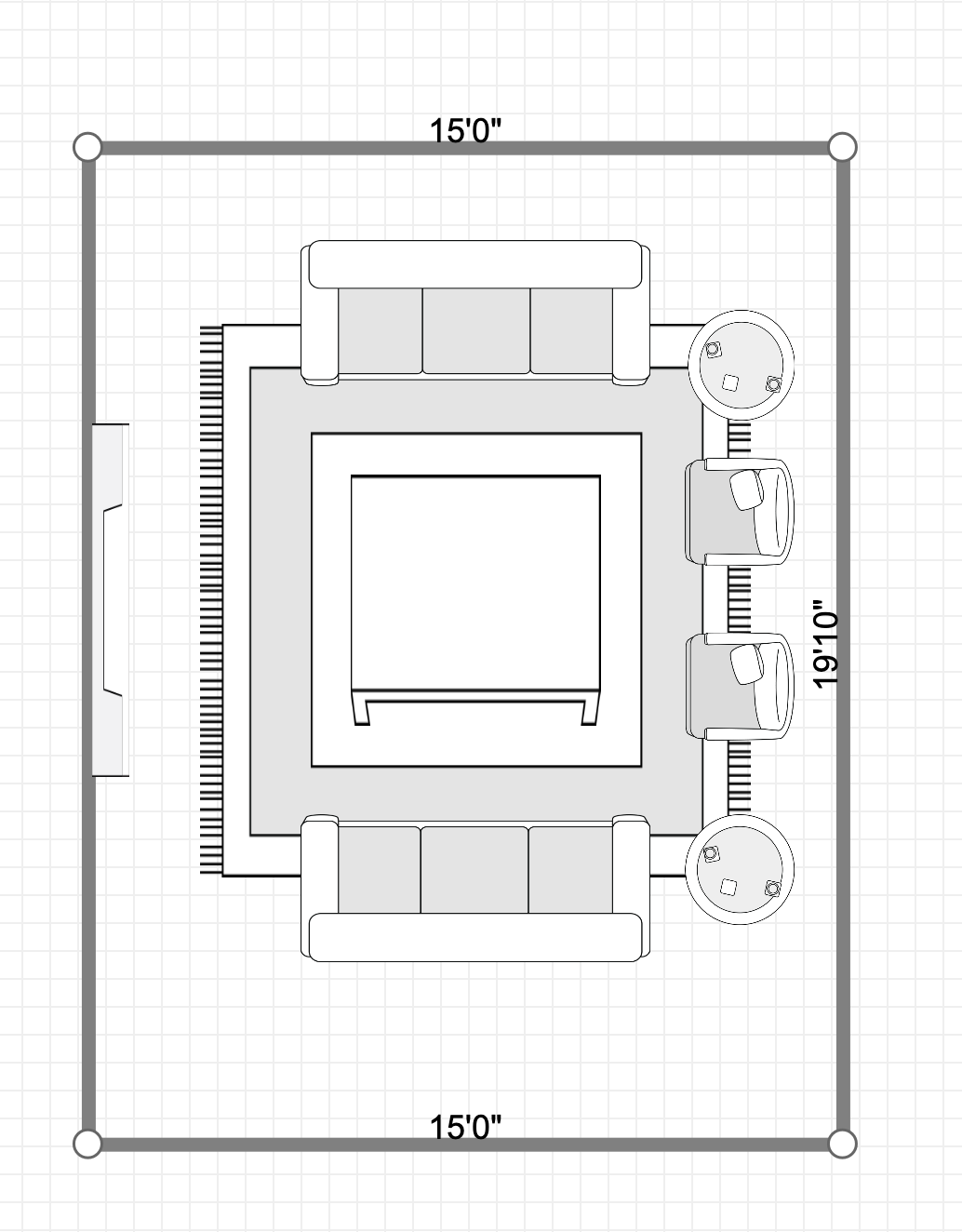 Option 1 11x11 Lr Layout W 2 7 Sofas And 2 Catbirds And 5x5