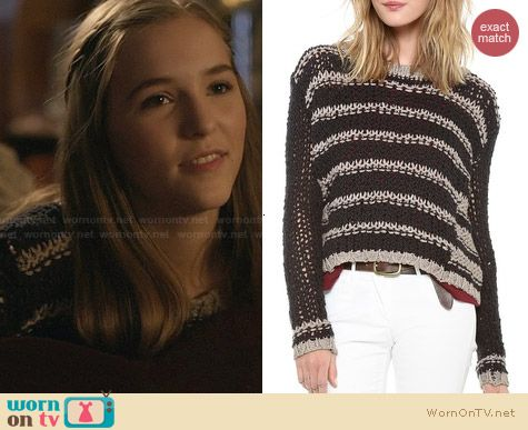 623e57f5d90d19 Maddie s striped knit sweater on Nashville. Outfit Details  http   wornontv.