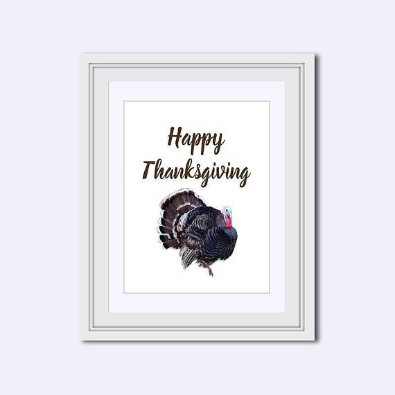 Wall Art Quotes Printable Decor Dining Rooms Happy Thanksgiving Rustic Crisp Commercial Autumn