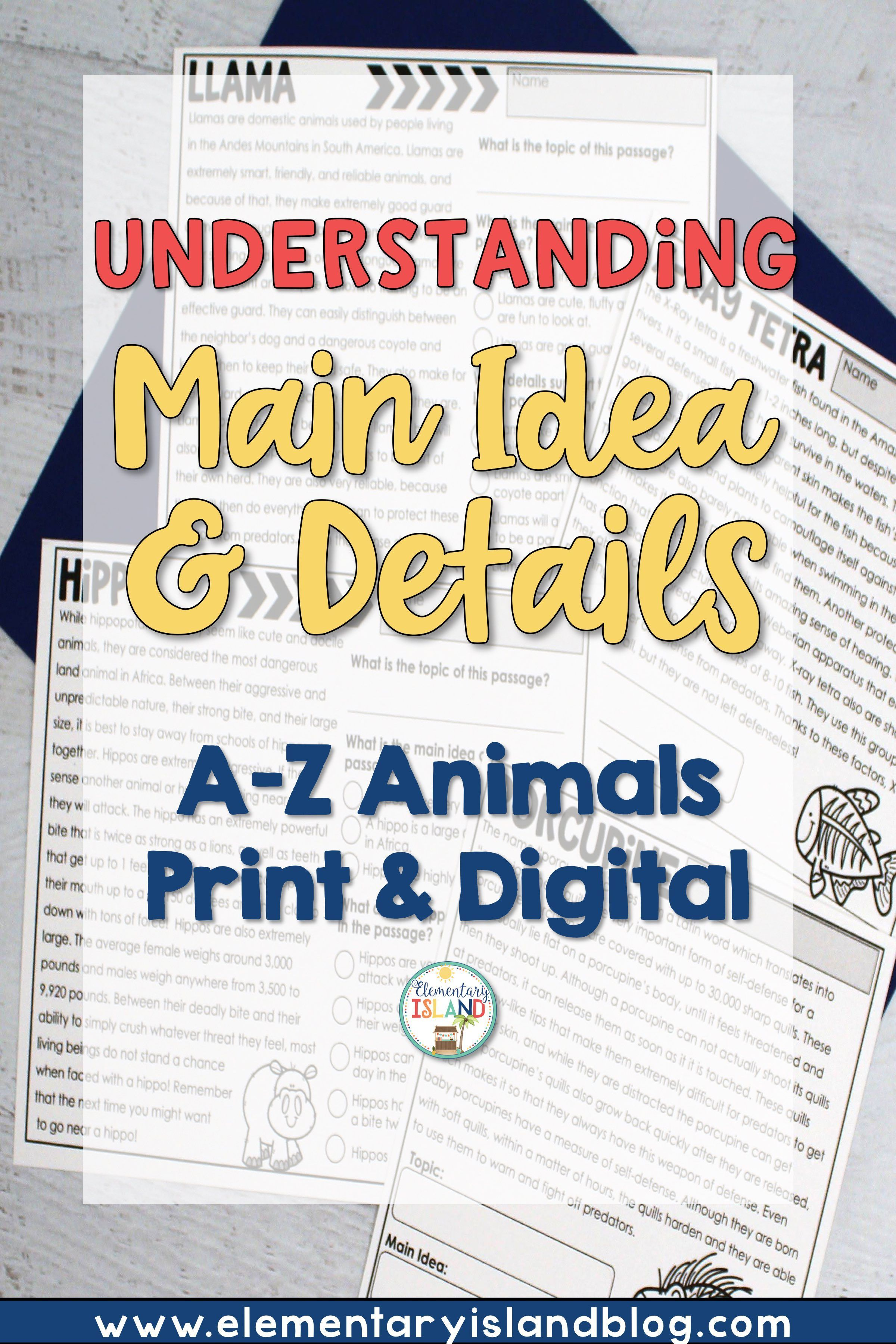 Main Idea And Supporting Details Passages Print Amp Digital