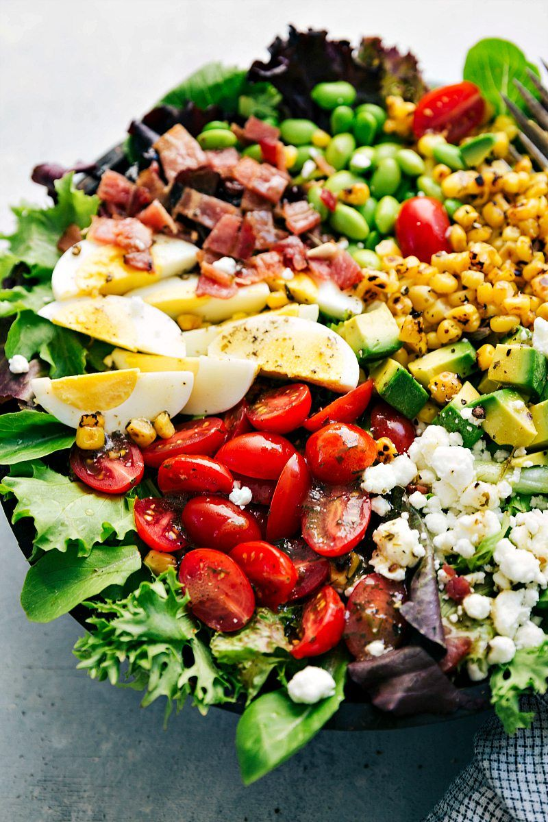 The Ultimate BEST EVER Easy COBB SALAD With A Delicious Tangy Herb Vinaigrette Via Chelseasmessyapron