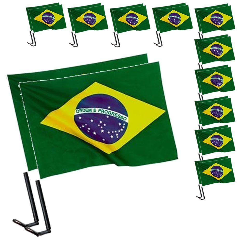 Bandeira Brasil Copa Mundo Vidro Carro 10 Pares Cbrn06052 Para
