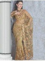 Magnifique travail Zari sur tulle beige f1e00b30a5c