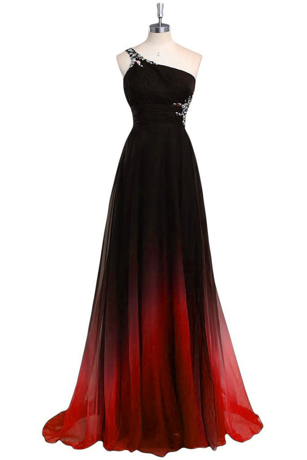 Women S Gradient Color Beading Evening Party Gowns Red Black Sequins Formal Prom Dresses Long A1 Evening Dress Beaded One Shoulder Prom Dress Prom Dresses Long
