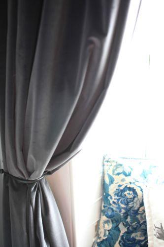 Ikea Sanela Gray Curtains Blackout Cotton Velvet 2 Panels 98 Long Grommet New Barhatnye Shtory Shtory Interer