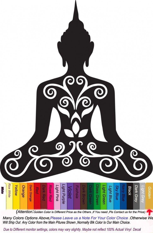 Om Modern Asian Kitchen Buddha Flower Om Yoga Vinyl Wall Decal Meditating Buddha India
