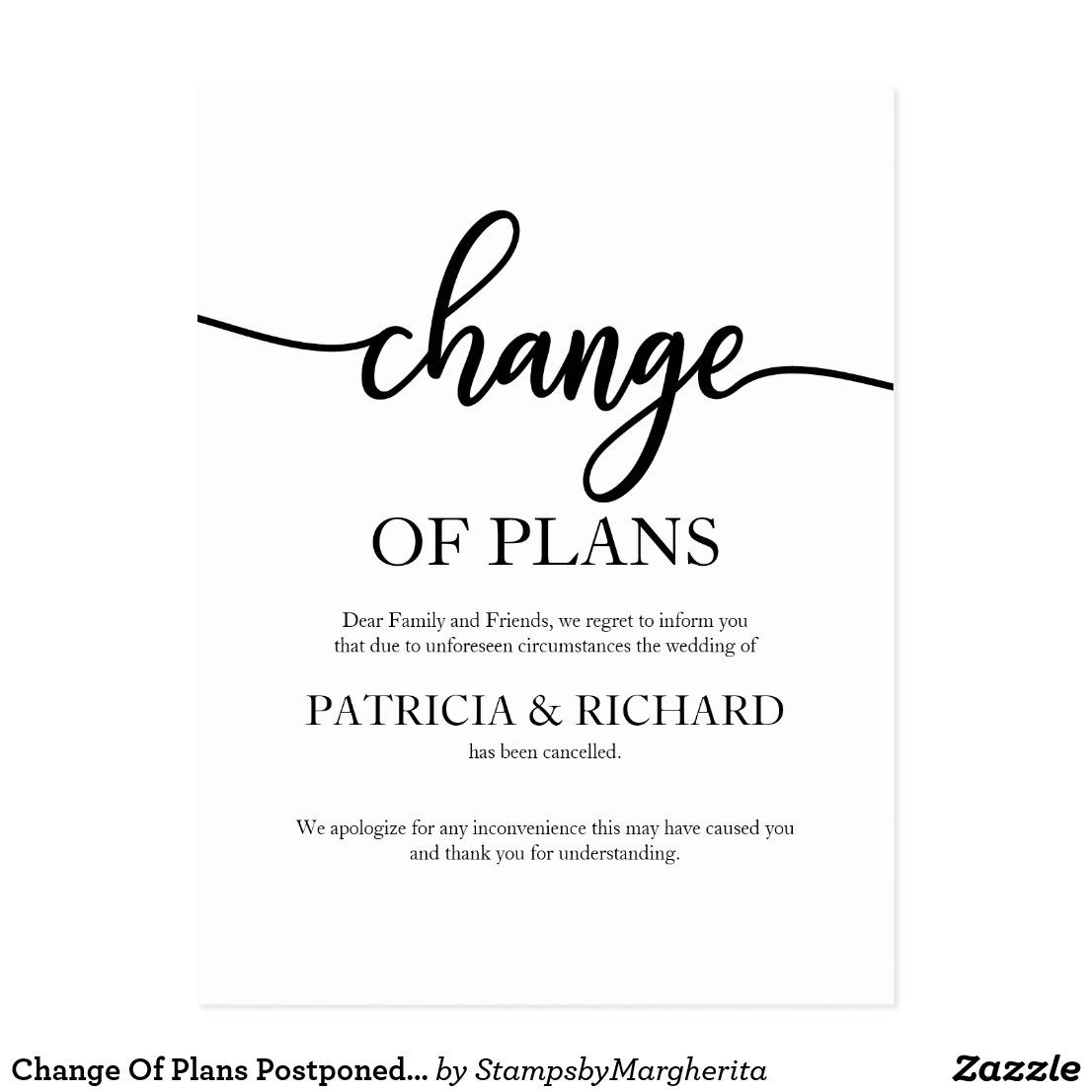 Change of plans postponed cancelled wedding postcard