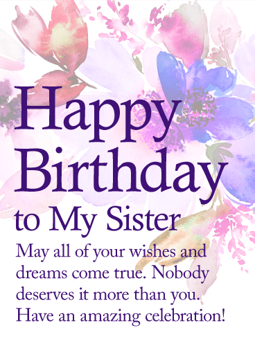 May Your Dream Come True Happy Birthday Wishes Card For Sister