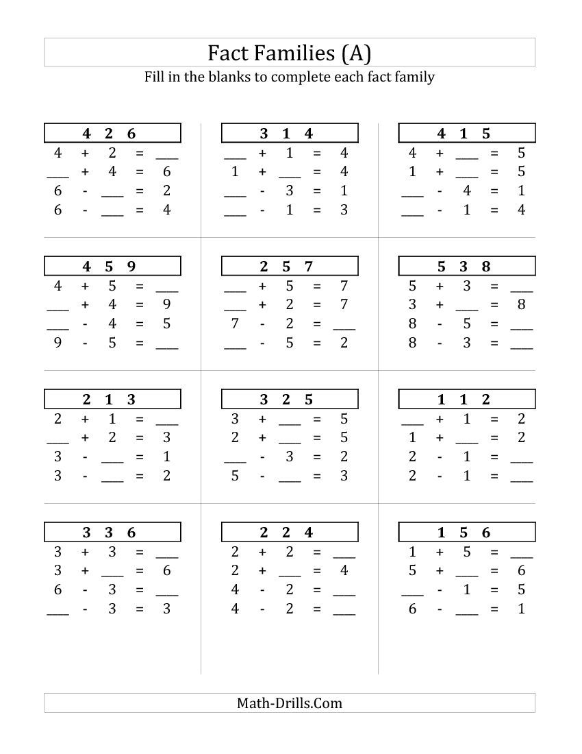 Addition And Subtraction Relationships With Sums To 10 A Fact Family Worksheet Fact Family Worksheet Family Worksheet Fact Families